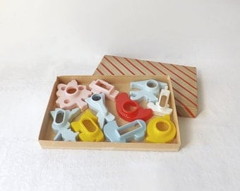 Celluloid Cookie Cutters, Vintage 10 Piece Set, Pastel Shapes for Christmas, Baby Shower, Halloween, Autumn, Religious