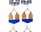 Pandia Earrings/ Doorknocker Earrings/ Large Dangle Earrings/ Lasercut Geometric Wood Shape/ Painted Gradient/ Color Fade