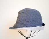 Child Fedora Cap, Denim Herringbone Chambray, Sun hat for babies, toddlers, children, boys and girls