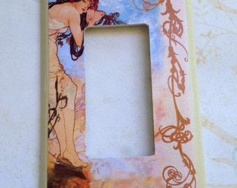 """Alphonse Mucha """"Summer"""" Art Nouveau - Brown, Tan and Blue - Single Rocker Light Switch Plate"""
