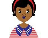 Ahoy Girl 21, Art Print (Children's African American Sailor Girl Illustration)