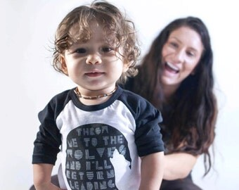 Baby Raglan •  Eco-Friendly TShirt • Brave Wolf • Graphic Screen • Hipster Print Tee • Baby Boys and Girls