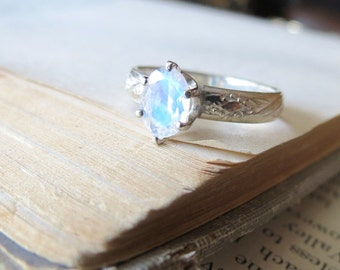 Rainbow Moonstone Engagement Ring Gemstone Solitaire Ring Sterling Silver Ring Promise Ring Alternative Engagement Ring