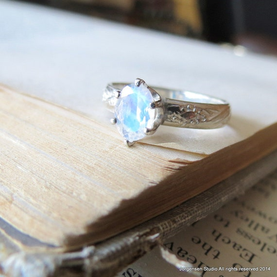 Rainbow Moonstone Engagement Ring Gemstone Solitaire Ring
