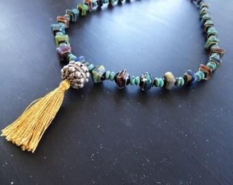 Boho Long Tassel Necklace Artisan Lampwork with Sterling Silver Tassel Pendant