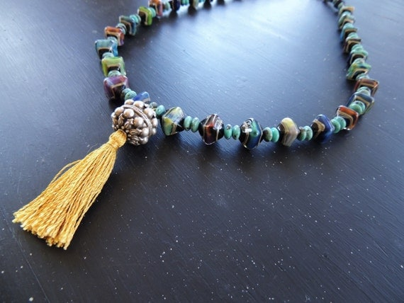 Boho Long Tassel Necklace Artisan Lampwork with Sterling Silver Tassel Pendant