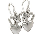 Pocket Pup Earrings - Sterling Silver Dog Earrings - Dog with Heart