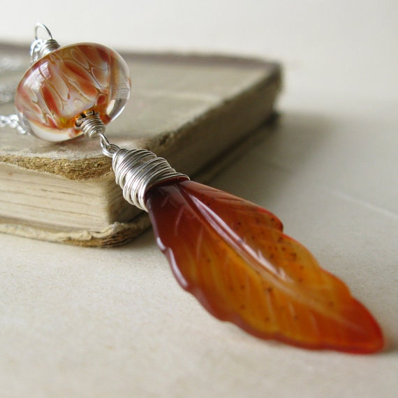 RESERVED Blaze Lampwork Carnelian necklace Pendant  Wire wrapped sterling silver Autumn fall jewelry