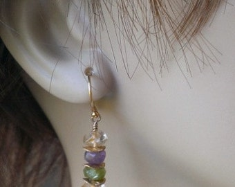 Stacked Gemstone and Brushed Gold Earrings