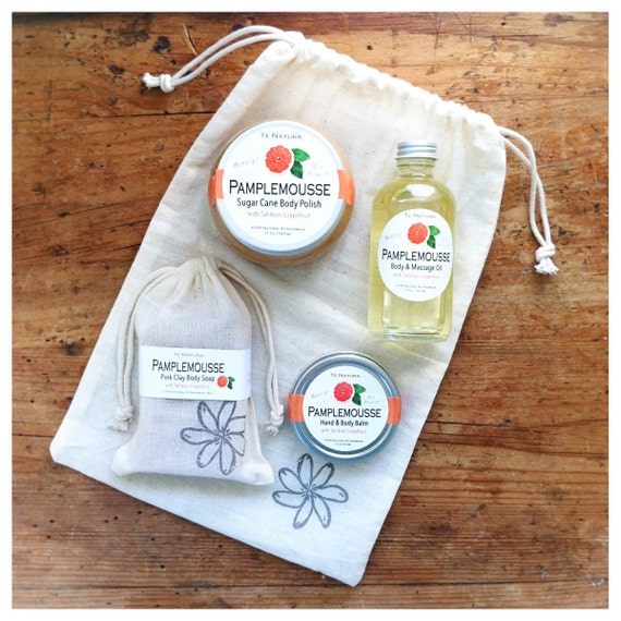 PAMPLEMOUSSE (Tahitian Grapefruit) Spa at Home Value/Gift Set - 100% Natural, Organic Ingredients, Gluten Free (Soap, Polish, Oil and Balm)