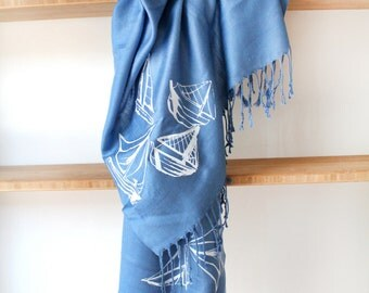 Silk Blend Sailboat Hand-Printed Scarf