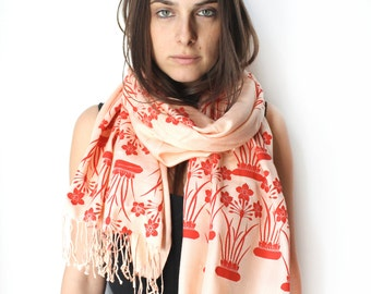 Silk Blend Hand Printed Narcissus Scarf Peach/Red