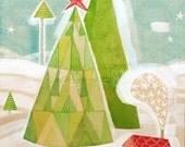 Cori Dantini Christmas art, whimsical, watercolor, folk art painting, 8 x 10 - limited edition, archival print by cori dantini