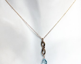 Gold infinity necklace, sky blue topaz necklace for girlfriend, december birthstone necklace, drop necklace, Wrought, ready to ship