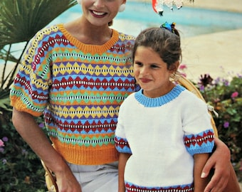 Sweater Knitting Patterns Mother Daughter Hayfield 00902 Wome Children Vintage Paper Original NOT a PDF