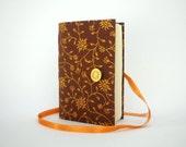 Gold Brown journal Handmade journal leaves journal Autumn journal writing journal notebook lined journal wrap journal memory journal diary
