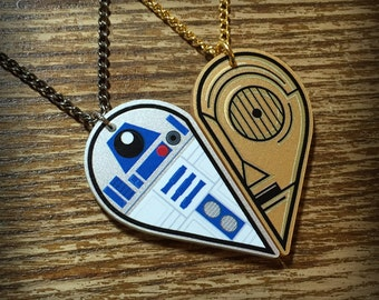 R2D2 and C3P0 Inspired Acrylic Best Friends Necklace Set