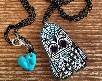 Chewbacca Sugar Skull Two-Sided Acrylic Necklace