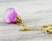 Light Purple Necklace, Gold Fill Necklace, Chalcedony Gemstone Necklace, Wire Wrap Necklace, Free Shipping, Minimalist Pendant Necklace