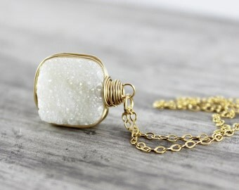 White Druzy Necklace, Wire Wrap Necklace, Gold Druzy Necklace, Wedding Jewelry, Bridal Necklace, Drusy Gemstone Necklace, Pendant Necklace
