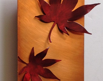 Copper Wall Art Japanese Maple Leaves, 4x8in
