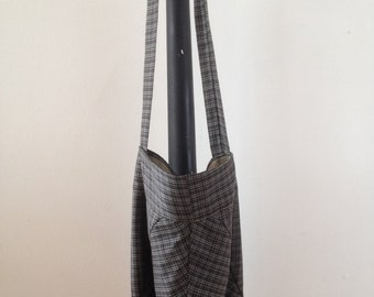 Triangle Pouch Tote Bag- Vintage Grey Wool Plaid