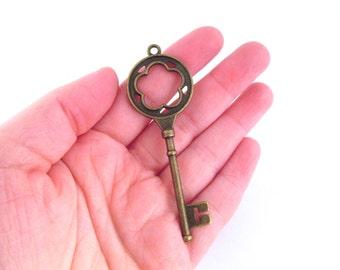 Antique brass large skeleton key pendant charms 77x26mm, pick your amount, D184