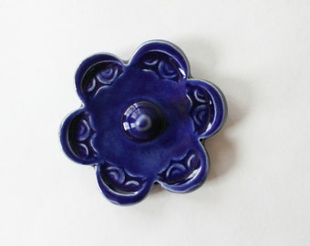 Ready to Ship, One Blue Ring Dish Bowl, Cobalt Blue Ring Flower
