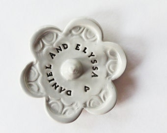 Ring Holder - Stamped with Personalized message - Custom Message, Ceramic Pottery, Takes 1-2 weeks to Produce
