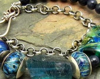 Sterling Silver Ocean Blue Lampwork Gemstone Handmade Bracelet with Rainbow Flourite, Blue Dumortierite Boho Gypsy SRA