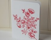 Rose Note Cards, Blank Note Cards Set, Red Roses Cards, Handmade Cards, All Occasion Cards, Hand Stamped Cards, Note Cards, Flower Cards