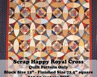 Scrap Happy Royal Cross Quilt Pattern. Attack your scrap stash with this fabulous pieced quilt.