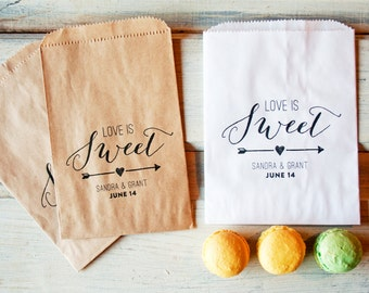 Wedding Favor Bags  - Love is Sweet Design with Arrow - Wax Lined Favor Bag - Great for cookies! - 20 White Favor Bags included