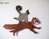 Squirrel with Lemur / 2 piece set Articulated Decoration  / Hinged Beasts Series