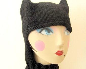 Knit Adult / Baby / Toddler Hat / Bonnet Helmet - Batman / Catwoman Inspired Hat
