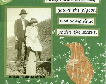 The Pigeon & The Statue Funny Greeting Card