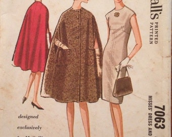 1960's Pauline Trigere McCall's 7063 Pattern - Dress and Cape