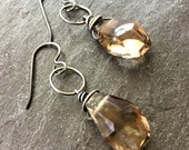 Smoky Quartz Earrings Oxidized Sterling Silver
