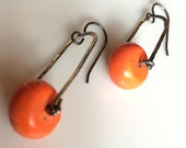 Orange Roundel Sterling Silver Bead Earring Hammered Silver Oxidized Jewelry Hand Made