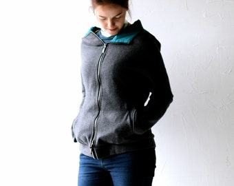 Wool jacket, Womens Jacket, Hoodie, Winter coat, Grey coat, Winter jacket, Grey Jacket, Warm coat, Teal lined coat, Dolman coat, Zipper coat