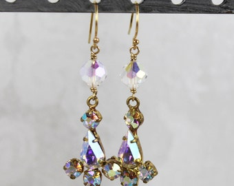Upcycled Vintage Aurora Borealis Clear Crystal Teardrop 14k Gold Fill Earrings