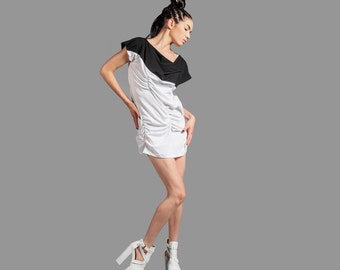 Black And White Mini Avant Garde Ruched Dress