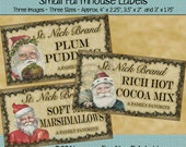 Instant Download - Printable Farmhouse Labels - St Nick Brand Cocoa, Marshmallows - Digital PDF or JPG File