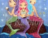 Mermaid Art -Three Sister Mermaids - Sisters Quote -Mermaid Decor- Art Print- 8x10 and 5x7