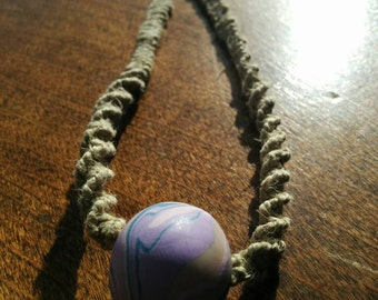 Natural Hemp with Purple Swirl Bead