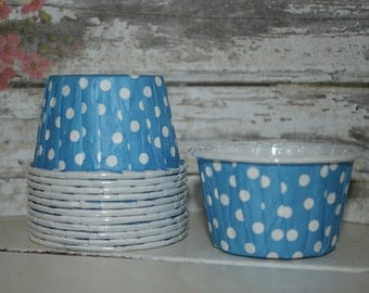 Blue Nut Cups, set of 12, baking cups, dessert cups, ice cream cups, polka dots