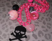 Skull Necklace Chunky Charm Necklace Skull Charm Necklace Skull Pendant Skull & Crossbones Jewelry Pink Black Beads Punk Rock N Roll OOAK