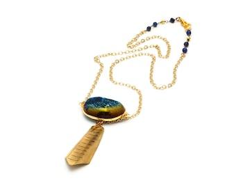 Blue Drusy Shield & Lapis Pendant Necklace