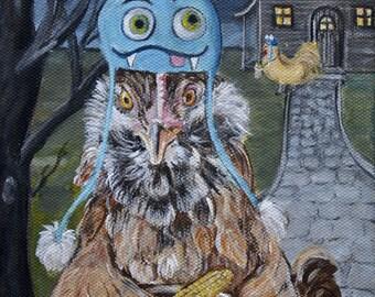Halloween Chicken art print from chicken painting, chicken decor, hen artwork, Halloween decor print, quirky kids wall art, nursery art