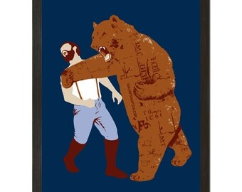 Wall Art, Bear Strikes Back, 18 x 24 Art Print